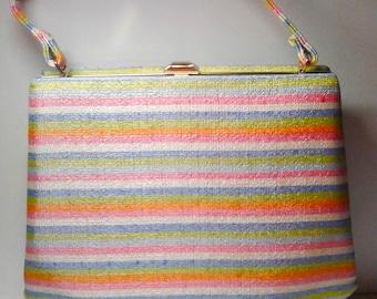 Vintage Sherbet Stripe Handbag 1960's