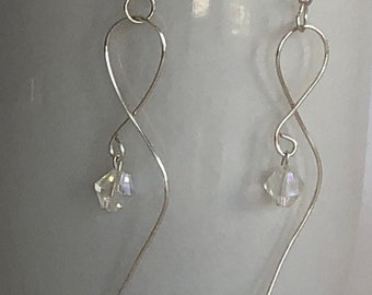 Shaped Wire Earrings with Crystal Earrings