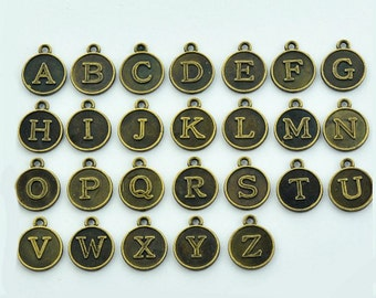 26 Alphabet Letter Charms Antique Bronze Tone 2 Sided ALPHA200