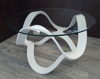 Corian glacier white and over 700mm diameter glass Design coffee table