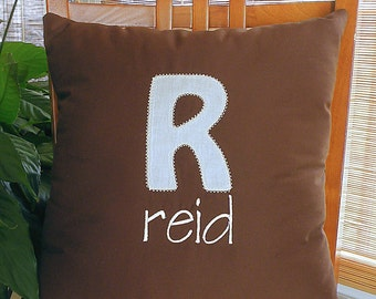 Chocolate Brown Monogrammed Pillow
