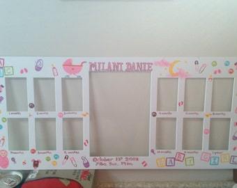 Baby's first year frame. Baby girl/boy theme. Custom baby frame. Baby name and brith date/weight frame. My first year A picture a month