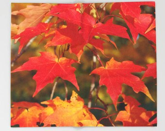 Fiery autumn maple leaves throw blanket, all occasion gift, fleece blanket, nature inspired home decor, nature lover gift, Christmas gift
