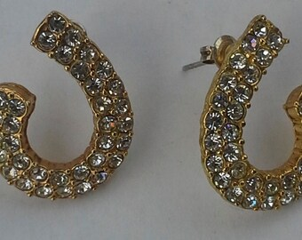 Vintage Roman earrings gold tone and clear rhinestones