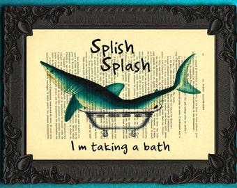 splish splash birthday print splish splash shark taking a bath illustration shark bath print