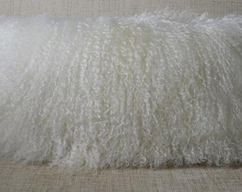Mongolian lamb Pillow lumbar cushion new usa made authentic tibet sheepskin fur cushion insert included