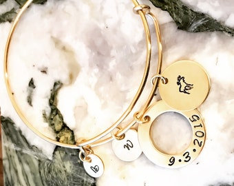 Gold Expandable Bangle Bracelet, Adjustable Bracelet, Stackable Bracelet, Personalized Adjustable Bangle, Your Quote, Name, Mantra, Date