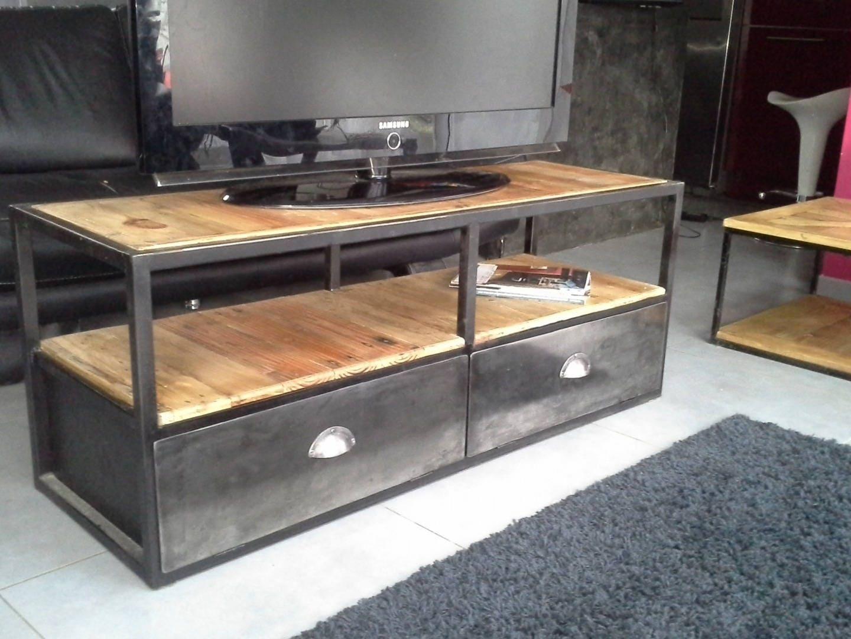 meuble industriel tv acier bois. Black Bedroom Furniture Sets. Home Design Ideas