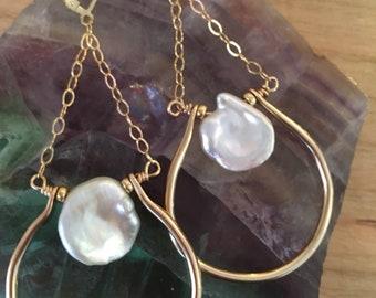 Gold Filled Keshi Pearl drops