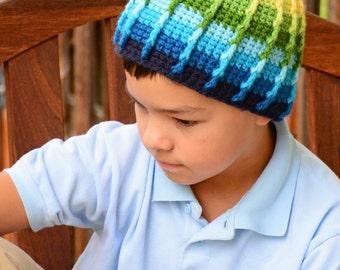 CROCHET PATTERN - Color Dip Beanie - crochet hat pattern for boys, crochet beanie pattern (Infant - Adult sizes) - Instant PDF Download