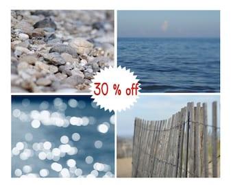Grey navy blue coastal wall art, lake photo set, 4 beach prints 11x14, 8x10, coastal home decor, pictures of seaside, bathroom bedroom decor