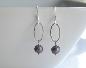 Purple pearl and silver earrings - KEIRA -purple