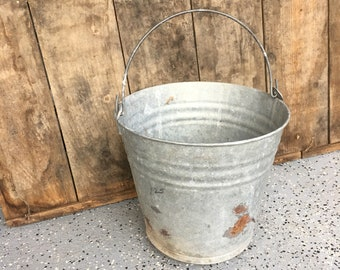 Vintage Galvanized # 12 Metal Pail/Vintage Bucket/Farmhouse Decor/Galvanized Bucket/Bucket/Metal Bucket/Galvanized