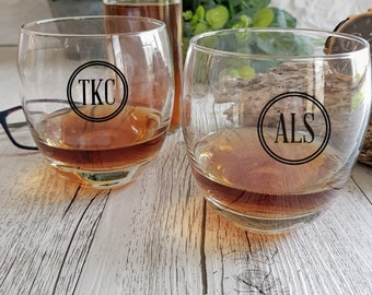 Personalized Monogram Decal/Stickers ideal for any glass ware