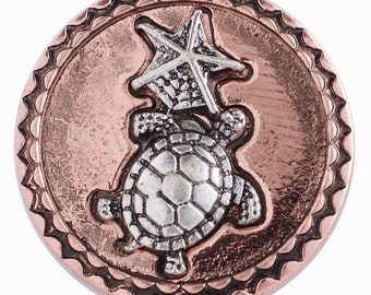 KC6220 Silver Plated Turtle/Starfish on a Copper Plated Snap