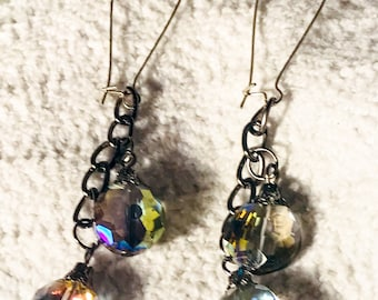 Raunbow AB faceted round glass pendant beads drop earrings kidney wire earrings
