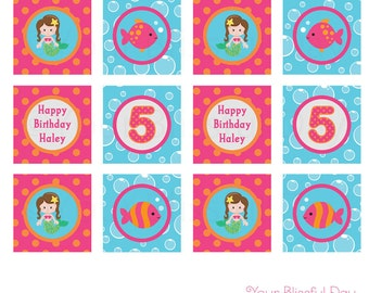 PRINTABLE Mermaid Party Circles (Personalized) #552