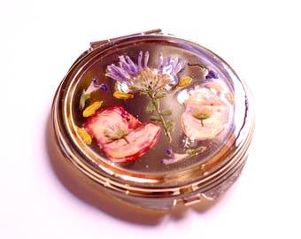 Gold Pressed Flower Pocket Mirror
