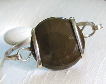 Silver Bangle Bracelet with Wire-Wrapped Olive Brown Glass Disc