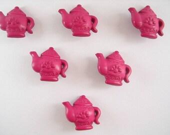 LOT 6 buttons: teapot Fuchsia 19mm