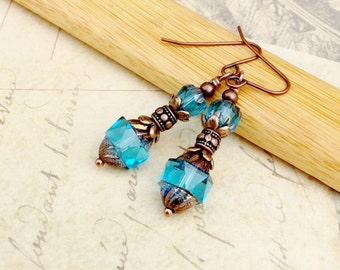 Blue Earrings, Aqua Earrings, Copper Earrings, Czech Glass Beads, Copper Aquamarine Earrings, Copper Blue Earrings, Unique Earrings, Gifts