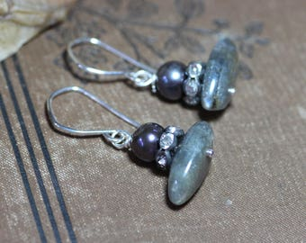 Labradorite Earrings Blue Pearl Earrings Rustic Jewelry Gray Earrings Gemstone Jewelry Sterling Silver Rustic Jewelry