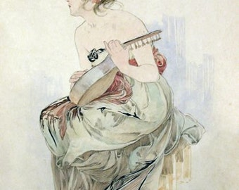Alphonse Mucha Print from frontispiece of Le Pater