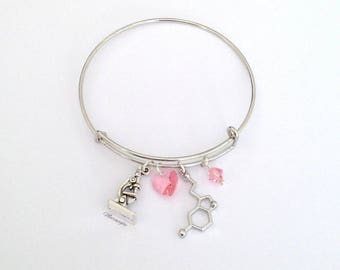 Neuroscience Bracelet, Serotonin Bracelet,Molecule Bracelet,Microscope Bracelet, Biology Jewelry, Science Jewelry, Graduation Gift