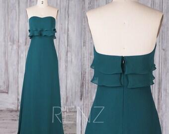 Bridesmaid Dress Forest Green Chiffon Dress,Wedding Dress,Ruffled Sweetheart Prom Dress,Strapless Party Dress,Long A-line Maxi Dress(H658)