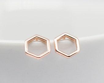 Earrings Rosegold HEXAGON Glossy