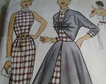 Vintage 1950's McCall's 9461 Sheath and Overdress Sewing Pattern, Size 14, Bust 32