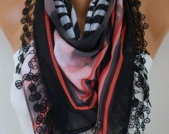 Black Scarf ,Summer Shawl, Oversized Scarf, Necklace, Cowl Scarf Cotton Gift Ideas for Her Women Fashion Accessories