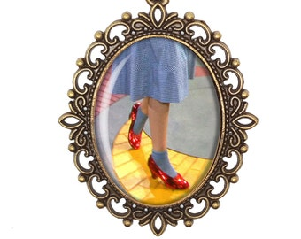 Wizard of Oz Dorothy Ruby Slippers Yellow Brick Road Victorian Cameo Large or Small Handmade Bronze or Silver Necklace Jewellery