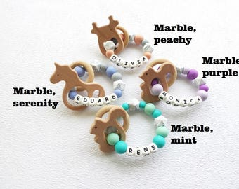 Newborn gift etsy teether with name teething toy personalised teether ring name newborn gift name custom newborn gift baby negle Image collections