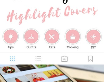 Instagram Stories Highlight Covers in Rose Colour - Set of 20