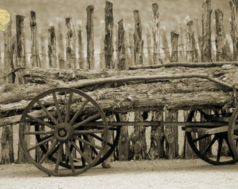 Rough Logs on Wooden Cart in Front of Rustic Fence in Sepia Morman Photography by Colleen Cornelius Bring the Outdoors In Zen Home Decor