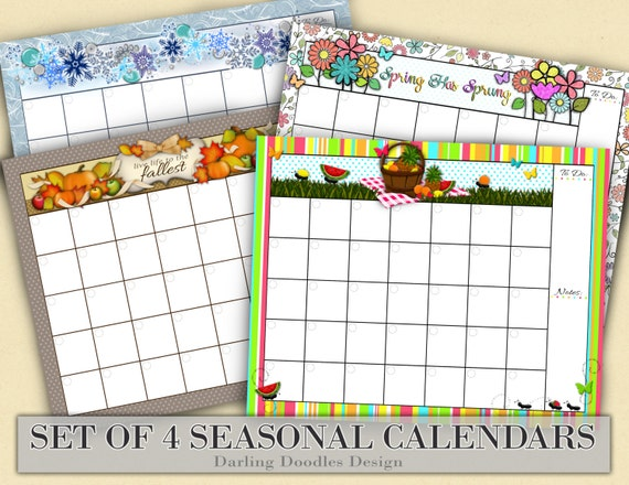 Seasonal monthly calendars holiday calendars calendar set monthly calendar dry erase calendar set of four monthly calendars