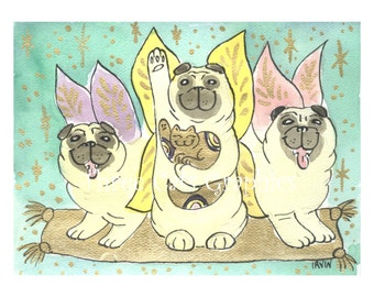 Flight of the Lucky Fairy Pugs - Choose from ACEO Print, Note Card with Stickers, or Art Print