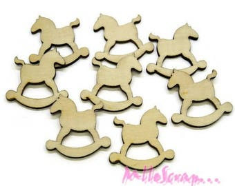 Set of 10 Christmas rocking horse wood scrapbooking *.