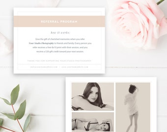 Boudoir Photography Referral Card, Photoshop Template, Referral Program, Tell a Friend, Photographer Templates - INSTANT DOWNLOAD!