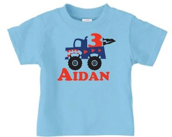 Personalized monster truck t shirt with name and age, monster truck birthday t shirt