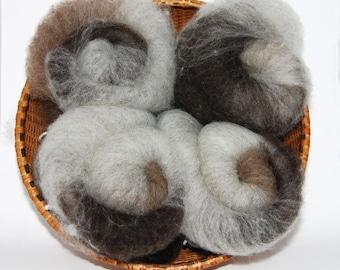 Shetland Grey Layered Spinning Batts - 5 ounces