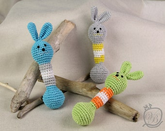 Crochet bunny Crochet baby rattle Easter gift Amigurumi Eco friendly Rattle Baby Shower Gift Rabbit gift Crochet Bunny