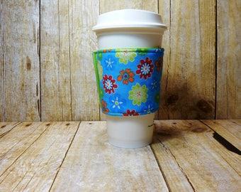 Fabric Coffee Cozy / Bright Flowers on Blue Coffee Cozy / Flower Coffee Cozy / Blue Coffee Cozy / Coffee Cozy / Tea Cozy