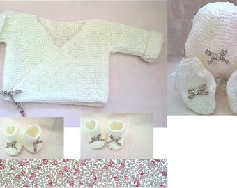 """Jacket, booties, hat and mittens in wool """"eloise"""""""