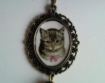 cat necklace victorian cat cabochon romantic cat kitten