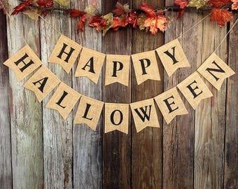 HAPPY HALLOWEEN Burlap Banner, Halloween Bunting, Halloween Decoration, Rustic Fall Banner, Rustic Burlap, Fall Decorating