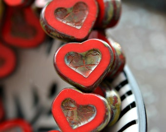 Be Mine - Premium Czech Glass Beads, Opaque Red, Picasso Finish, Love Hearts 14x12mm - Pc 4