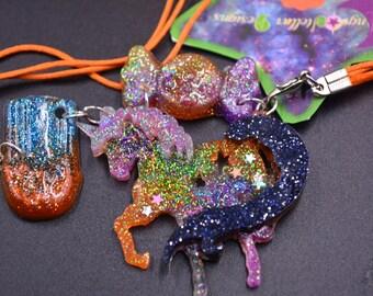 Kawaii rainbow glitter pony charm necklace