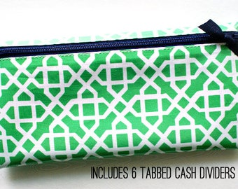 Budget organizer wallet with 6 tabbed dividers | green & white laminated cotton with navy zipper